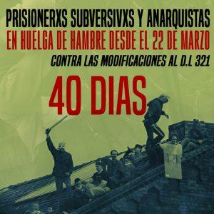 """Subversive and anarchist prisoners in hunger strike since March 22...40 days"""