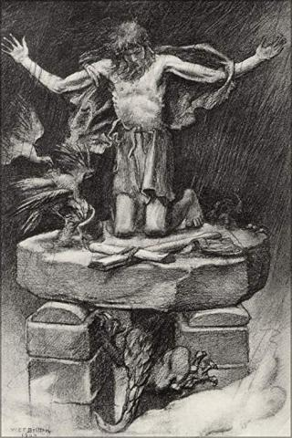 "Illustration to Tennyson's ""St. Simeon Stylites"" by W. E. F. Britten, depicting the Saint on top of a pillar"