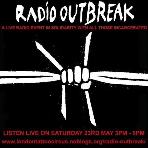 Radio OUTBREAK barbed wire fist art flyer