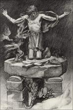 """Illustration to Tennyson's """"St. Simeon Stylites"""" by W. E. F. Britten, depicting the Saint on top of a pillar"""
