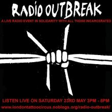 Radio OUTBREAK barbed wire fist art flyer
