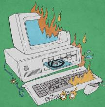 The obsolete computer on fire represents ANews' commitment to only the latest and greatest in technology.