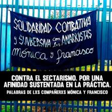 """Banner: """"COMBATIVE AND SUBVERSIVE SOLIDARITY with thx ANARKISTS Mónica and Francisco"""" Title: """"Agaisnt Sectarianism: For an affinity based in practice. Words from the comrades Mónica and Francisco"""""""