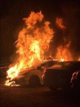 Kiev, Ukraine: Anarchists burned a police car